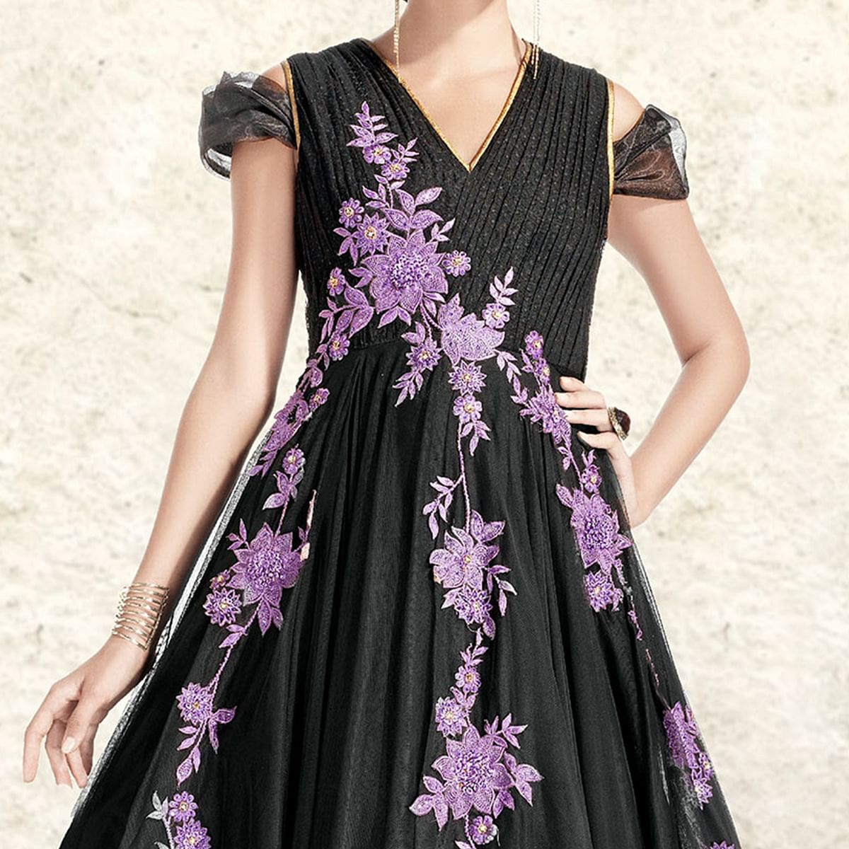 Black Thread Embroidery & Stone Work Anarkali