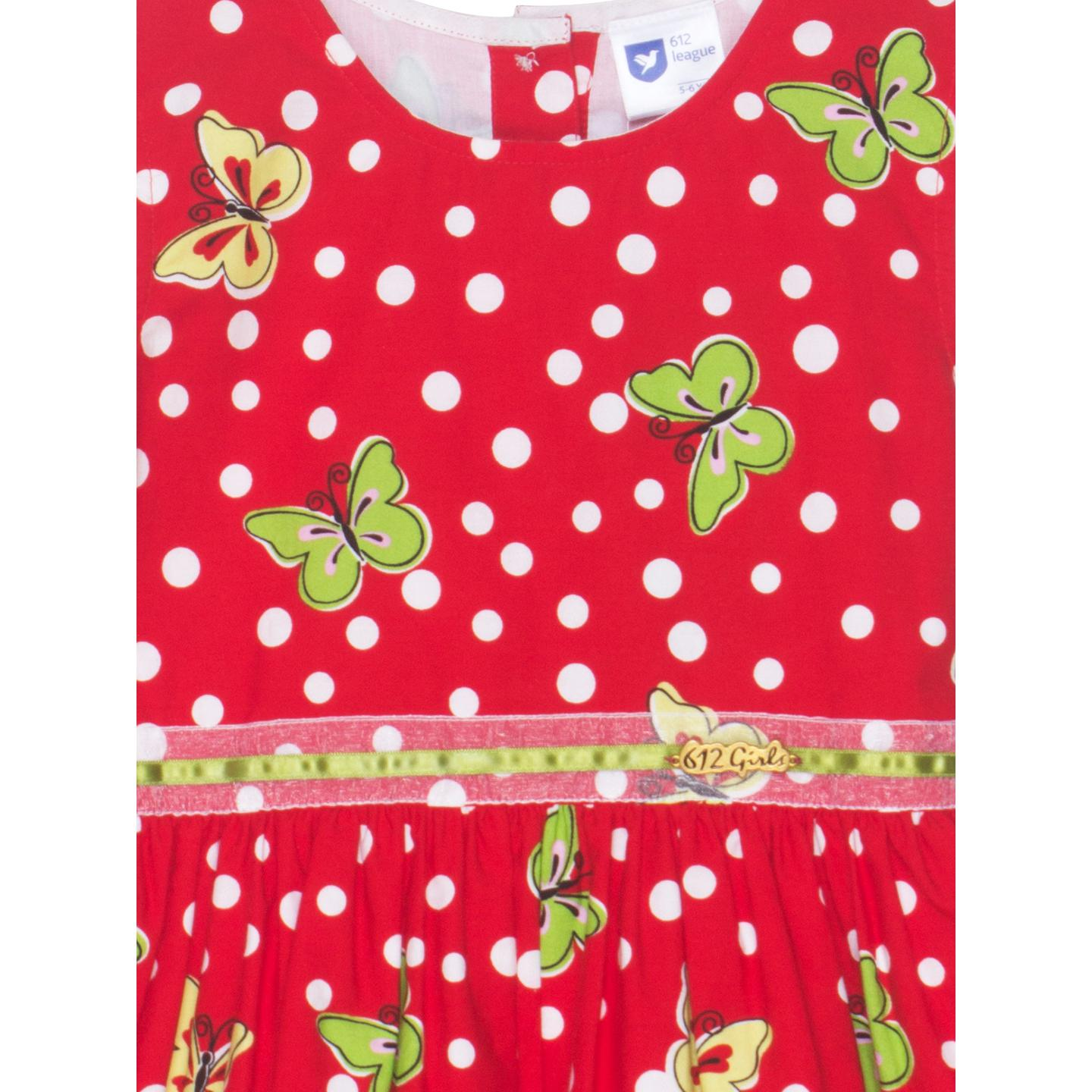 612 League - Red Colored Polka With Butterfly Printed Dress For Girls