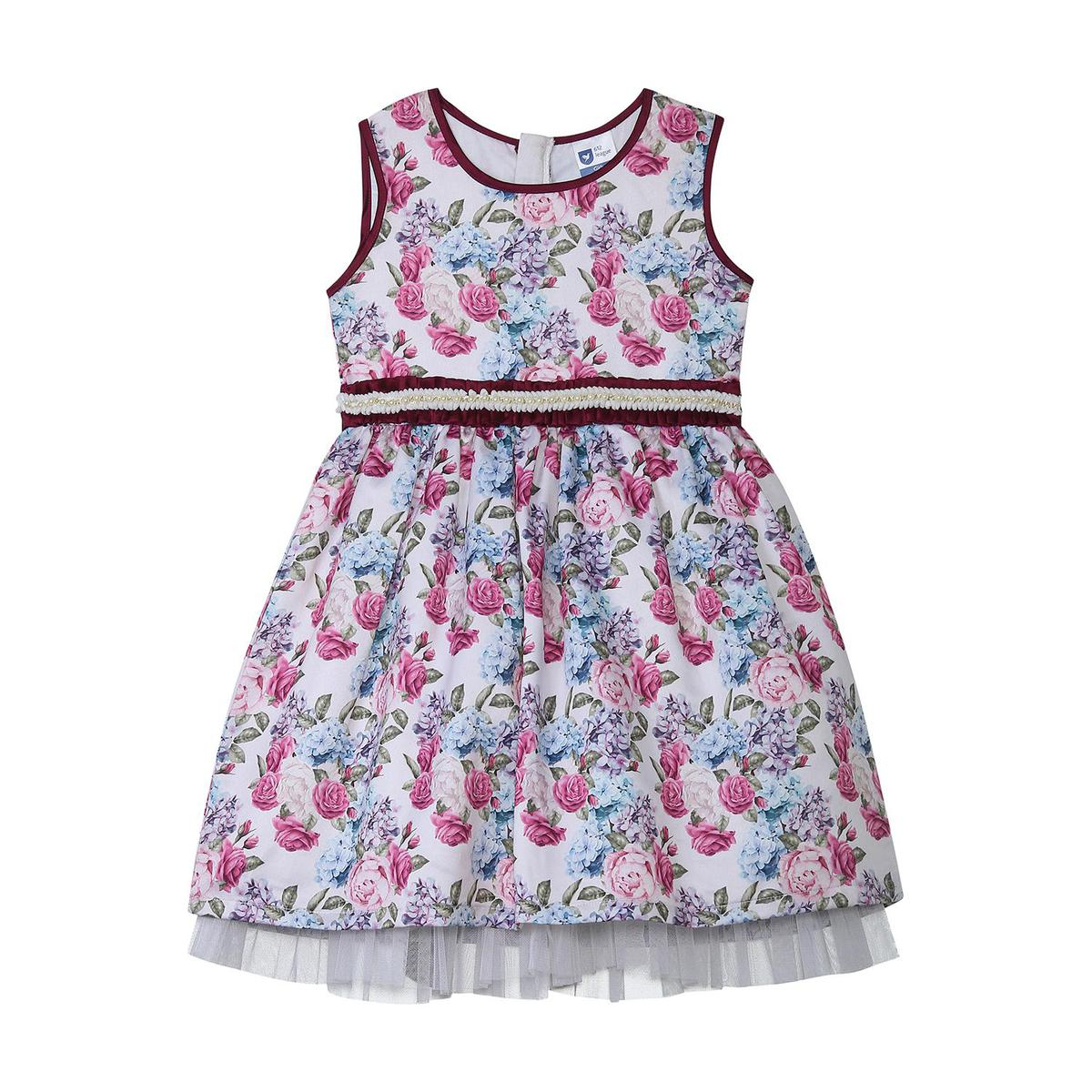 612 League - White Colored Floral Cotton Satin Dress For Girls