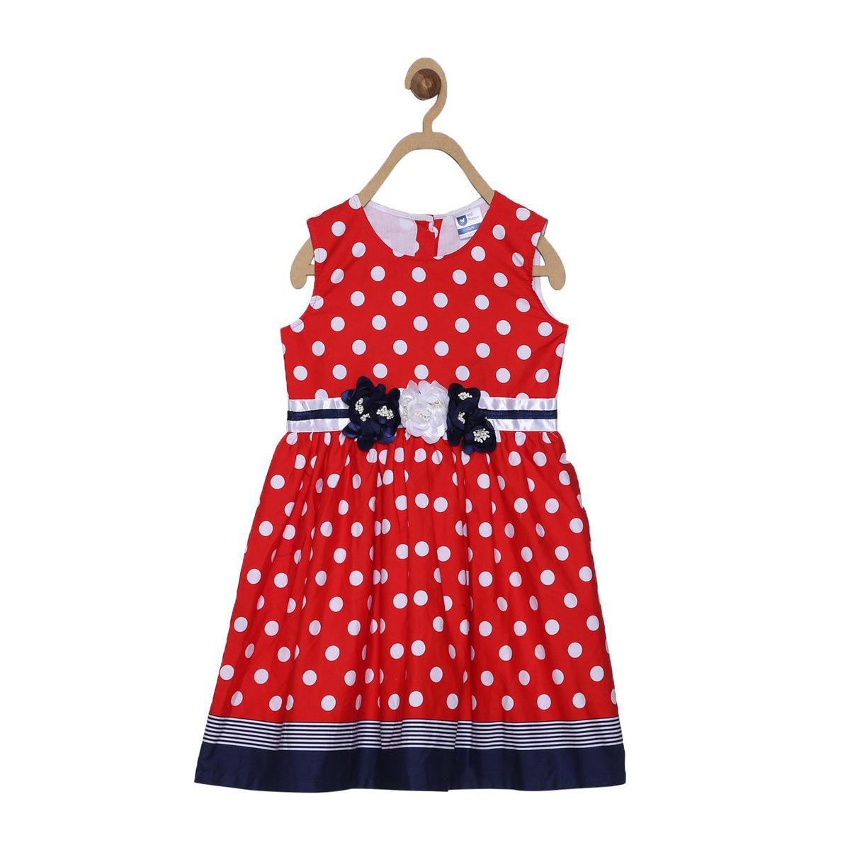 612 League - Red Colored Polka Printed Dress For Girls