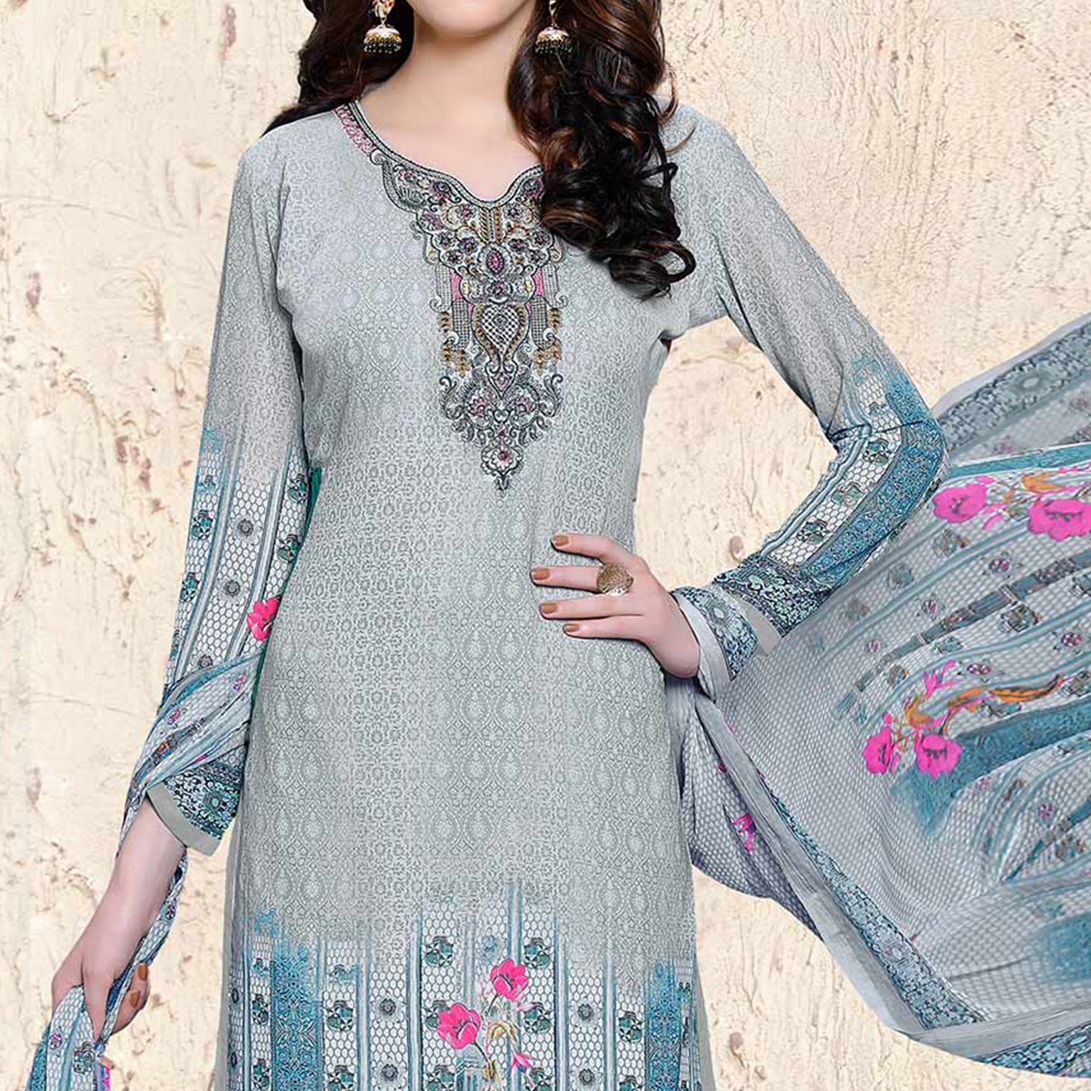 Pastel Blue Semi Stitched Georgette Suit