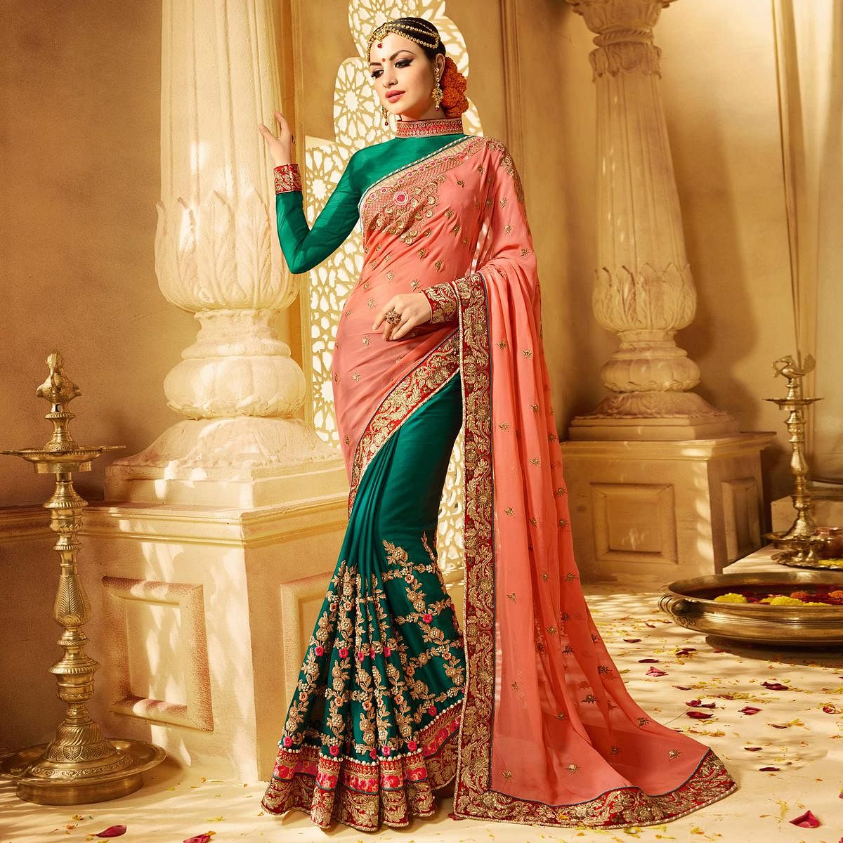 Bottle Green - Pastel Pink Half & Half Saree