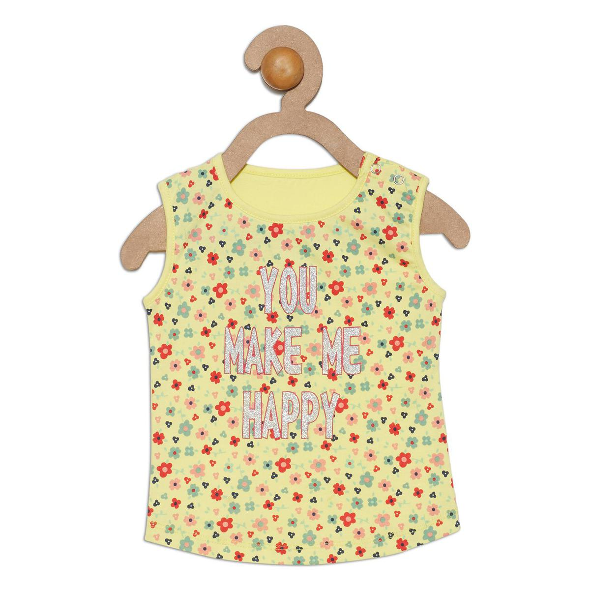 612 League - Yellow Colored You Make Me Happy T-shirts For Baby Girls