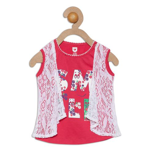 612 League - Pink Colored Smile Printed With Lace T-shirts For Baby Girls