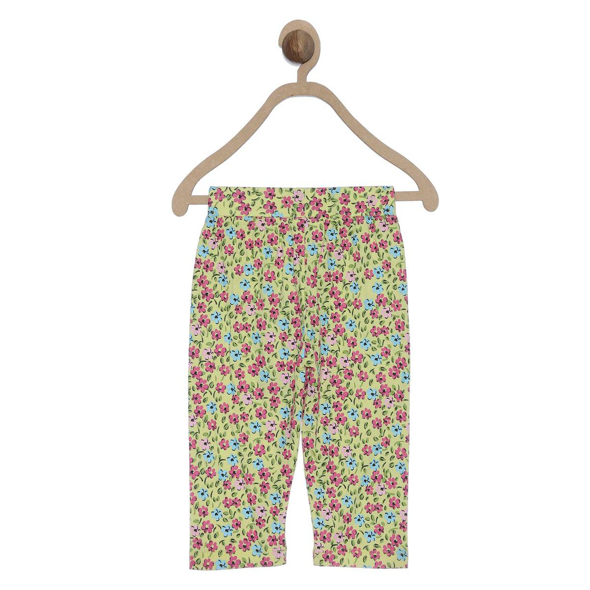 612 League - Yellow Colored Tights Floral Printed Leggings For Baby Girls