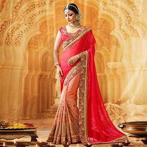 Peach - Pink Embroidered Work Half Saree