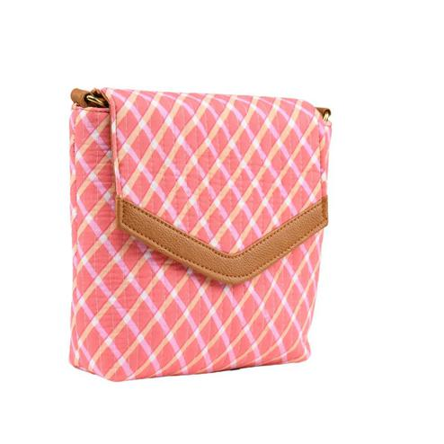 TMN Women's Pink Colored Polyester Floral Printed Handcrafted Sling Bags