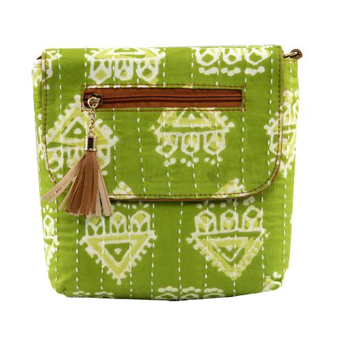 TMN Women's Green color Polyester Floral Printed Handcrafted Sling Bags
