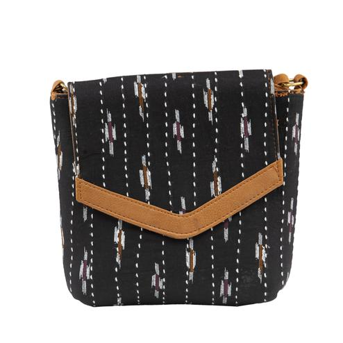 TMN Women's Black Colored Polyester Floral Printed Handcrafted Sling Bags