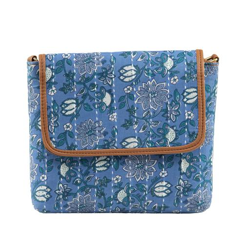 TMN Women's Light Blue Colored Polyester Floral Printed Handcrafted Sling Bags
