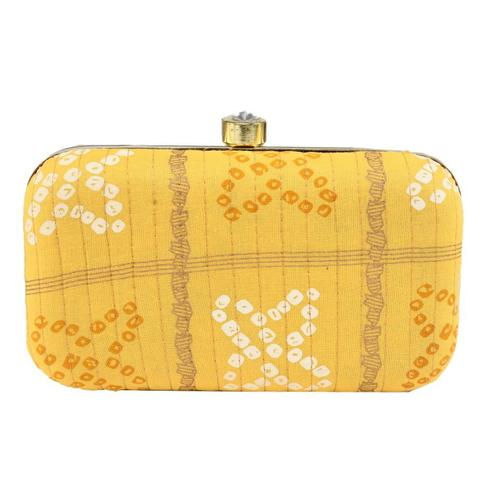TMN Yellow Colored Hand Embroidered Box Clutch Bag Purse