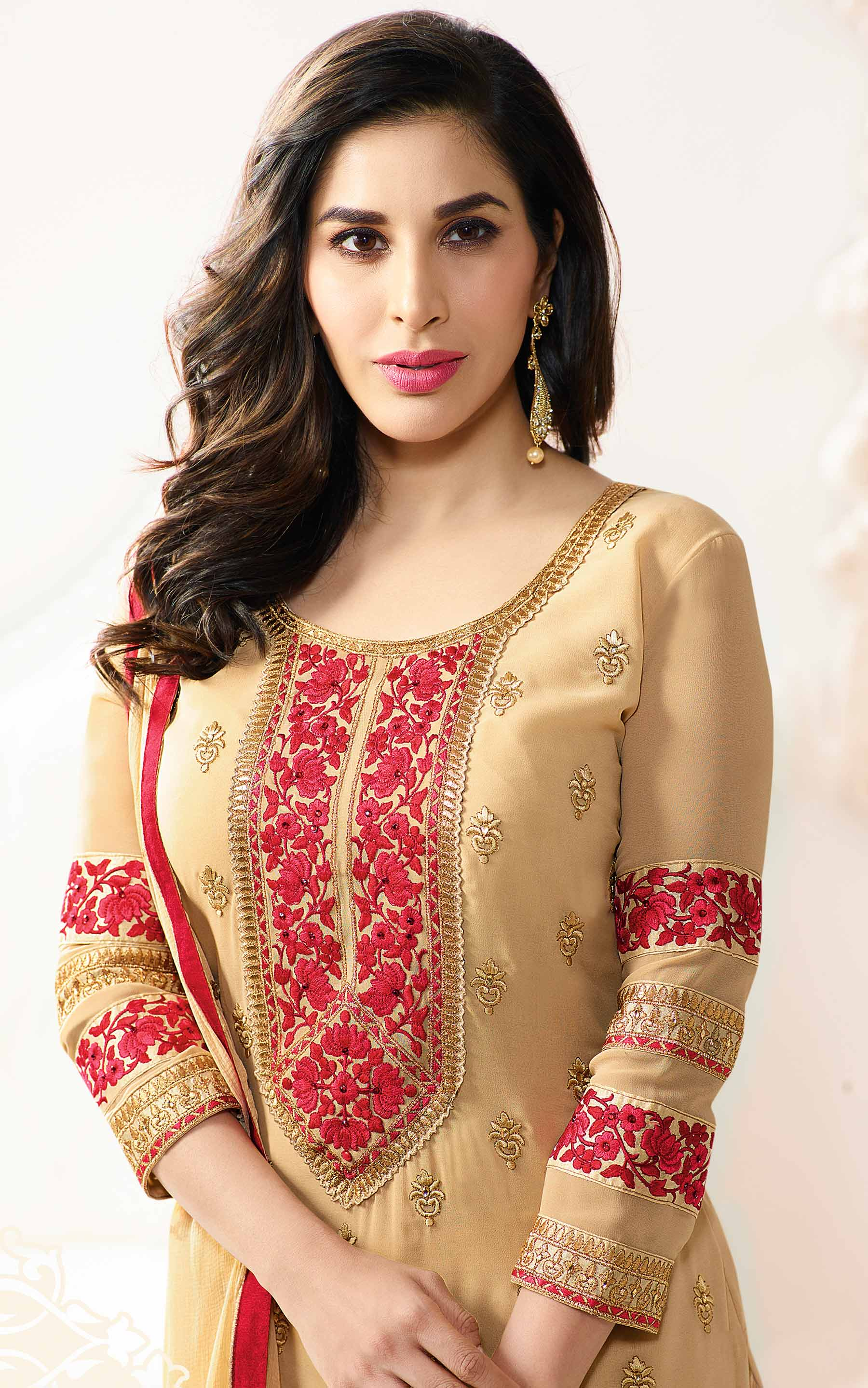 Beige Festive Wear Georgette Suit