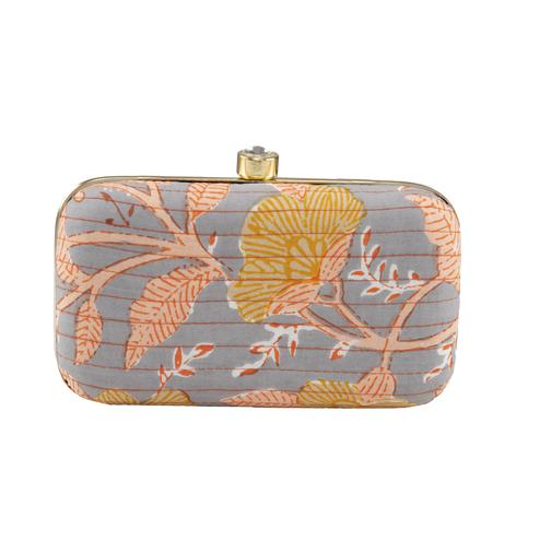 TMN Grey Colored Hand Embroidered Box Clutch Bag Purse