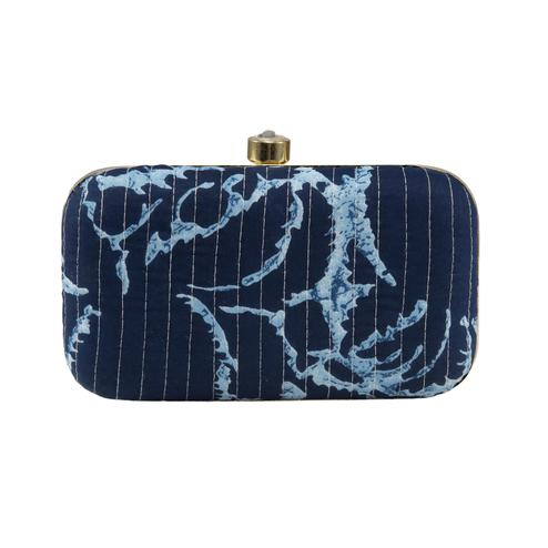 TMN Blue Colored Hand Embroidered Box Clutch Bag Purse