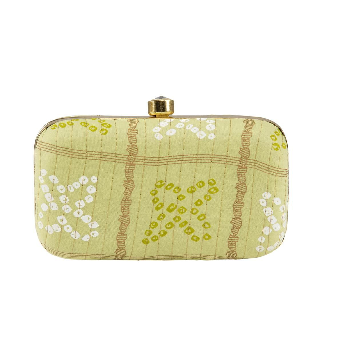 TMN Green Colored Hand Embroidered Box Clutch Bag Purse