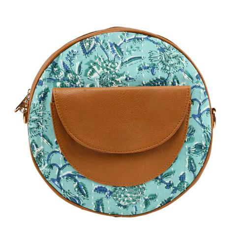 TMN Blue-Brown Colored Daily Objects Modern Stylish Round Sling Crossbody Bag For Girls/Women