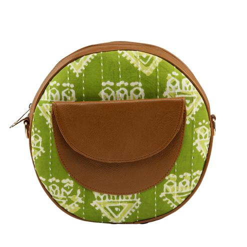 TMN Green-Brown Colored Daily Objects Modern Stylish Round Sling Crossbody Bag For Girls/Women