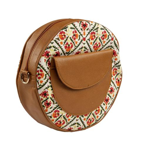 TMN White-Brown Colored Daily Objects Modern Stylish Round Sling Crossbody Bag For Girls/Women