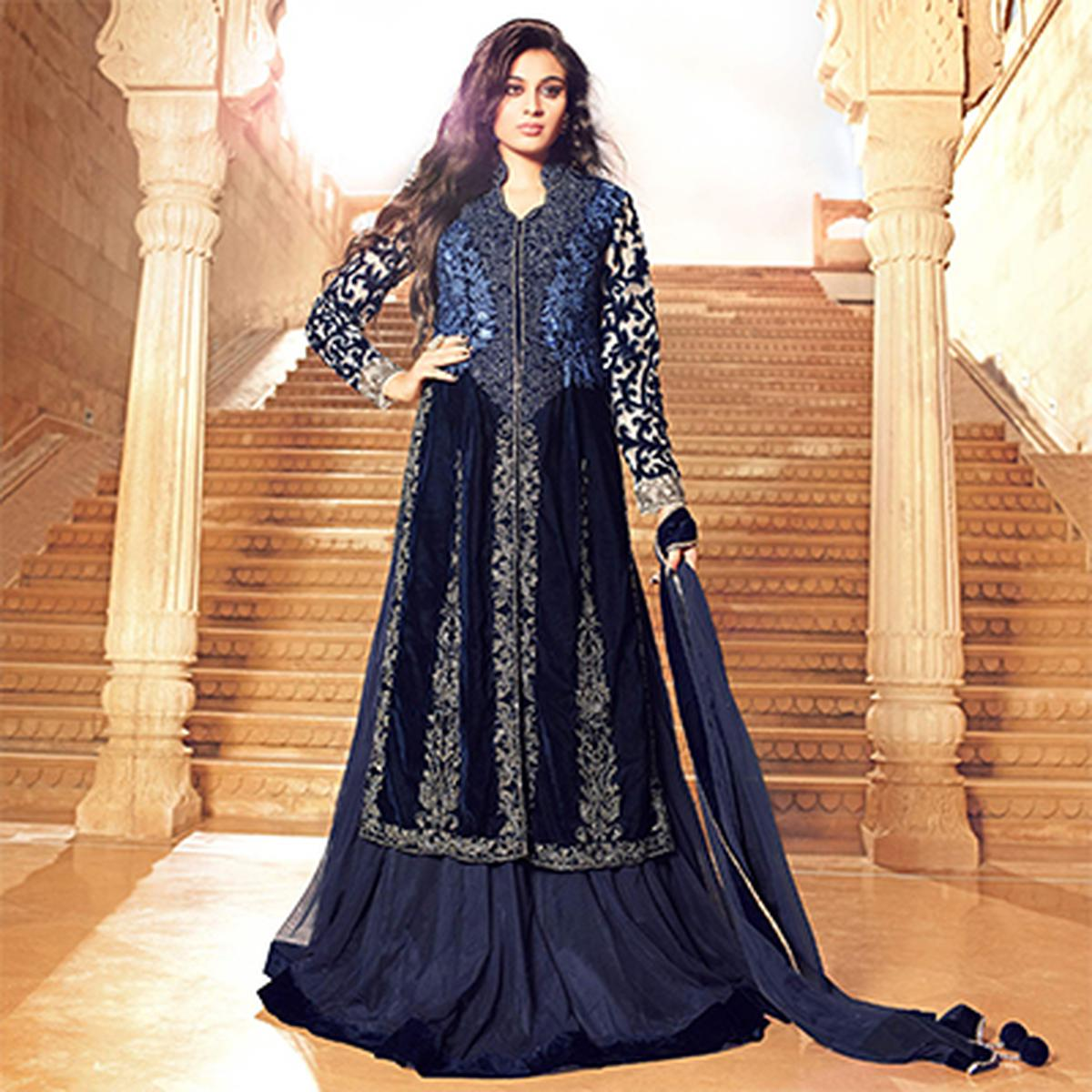 Navy Blue Net & Velvet Lehenga Suit for Wedding Reception