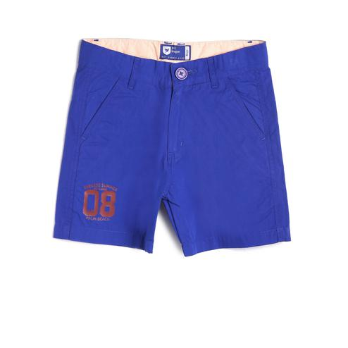 612 League - Blue Colored Basic Poplin With Print Straight Shorts For Boys