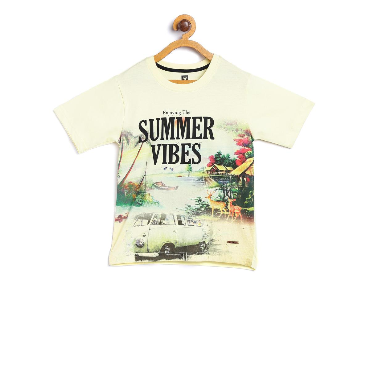 612 League - Yellow Colored Summer Vibes Tees For Boys