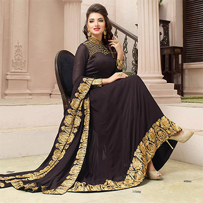 Brown Asymmetrical Georgette Suit with High Neck