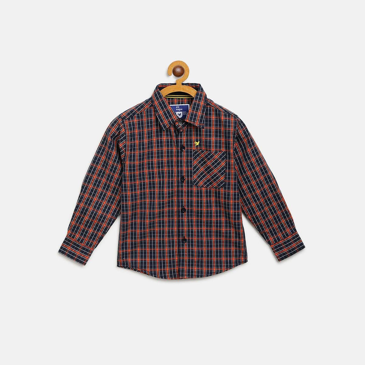 612 League - Blue Colored Checked F/S Shirts For Boys