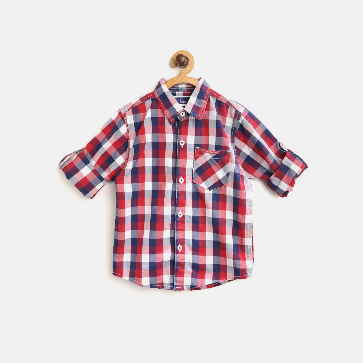 612 League - Red Colored Checked Shirts For Boys