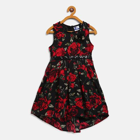 612 League - Black Colored Floral Crepe Dress For Girls