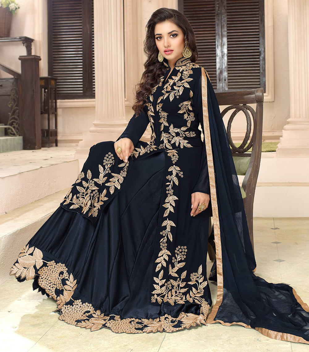 Navy Blue Embroidered Work Lehenga Kameez