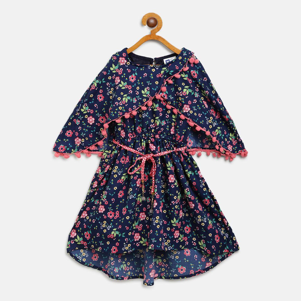 612 League - Blue Colored Printed With Attached Cape Crepe Dress For Girls