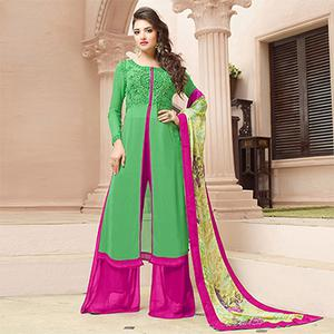 Green - Pink Party Wear Palazzo Suit