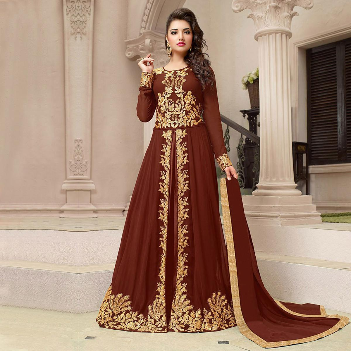 Brown Party Wear Embroidered Work Suit