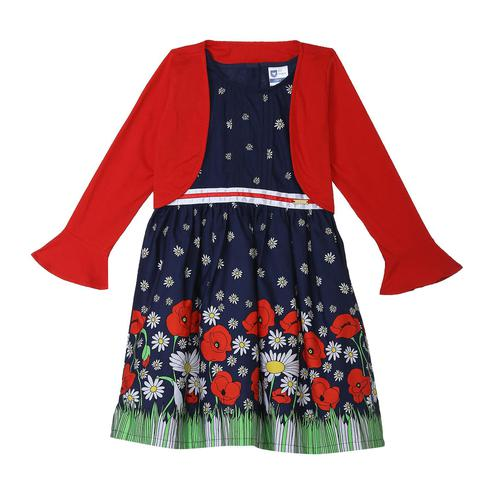 612 League - Blue Colored Floral Printed Poplin Border With S/J Shrug Dress For Girls