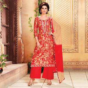 Red Digital Printed Pant Style Suit