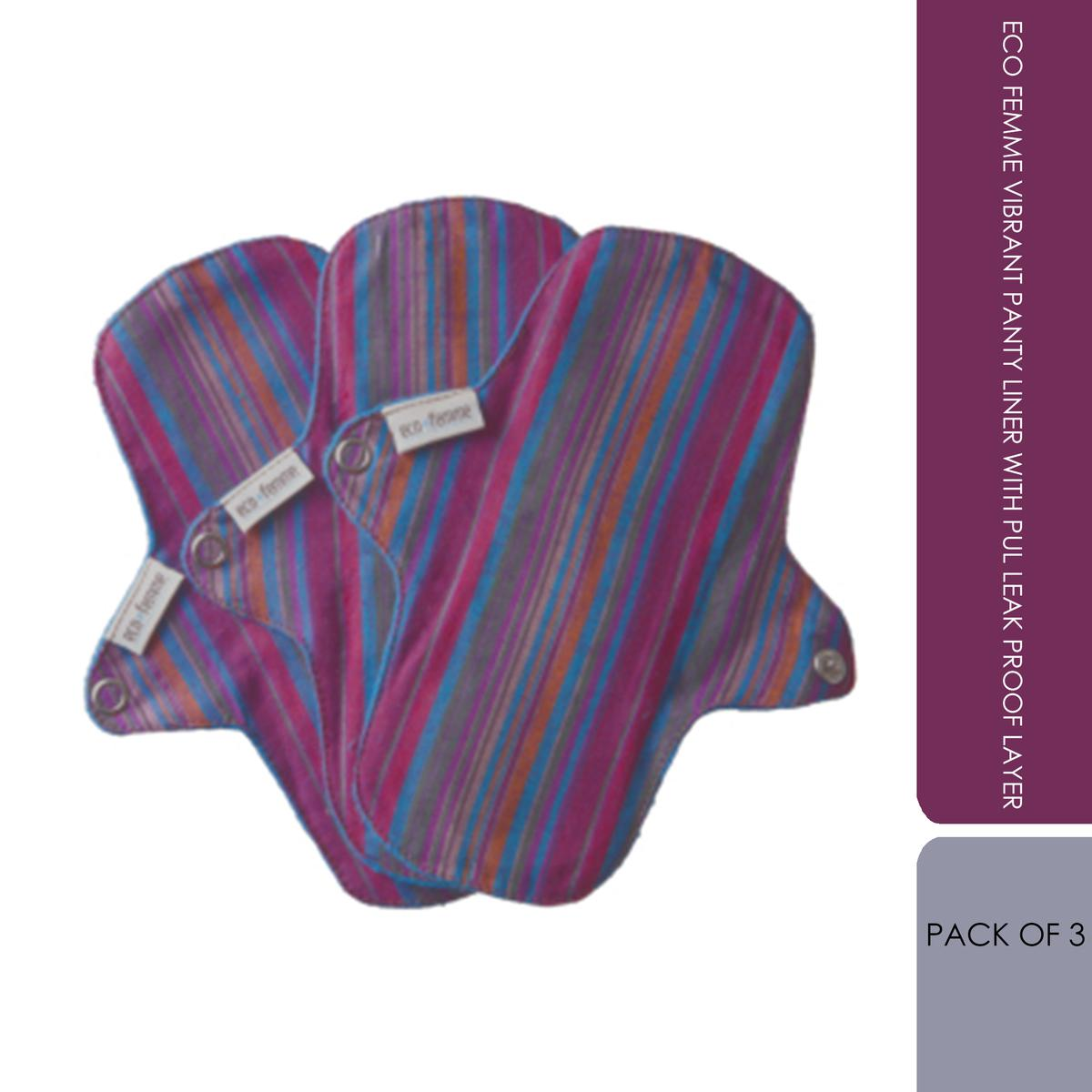 Eco Femme Vibrant Panty Liner With Pul Leak Proof Layer - Pack Of 3