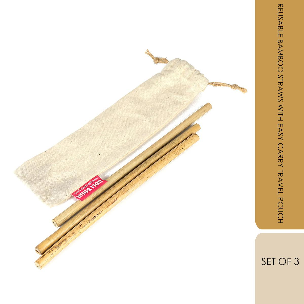 GOLI SODA Reusable Bamboo Straws With Easy Carry Travel Pouch (Set of 3)