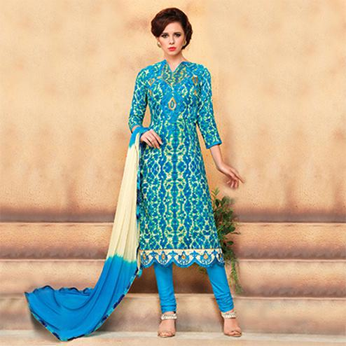 Blue - Beige Straight Cut Cotton Suit