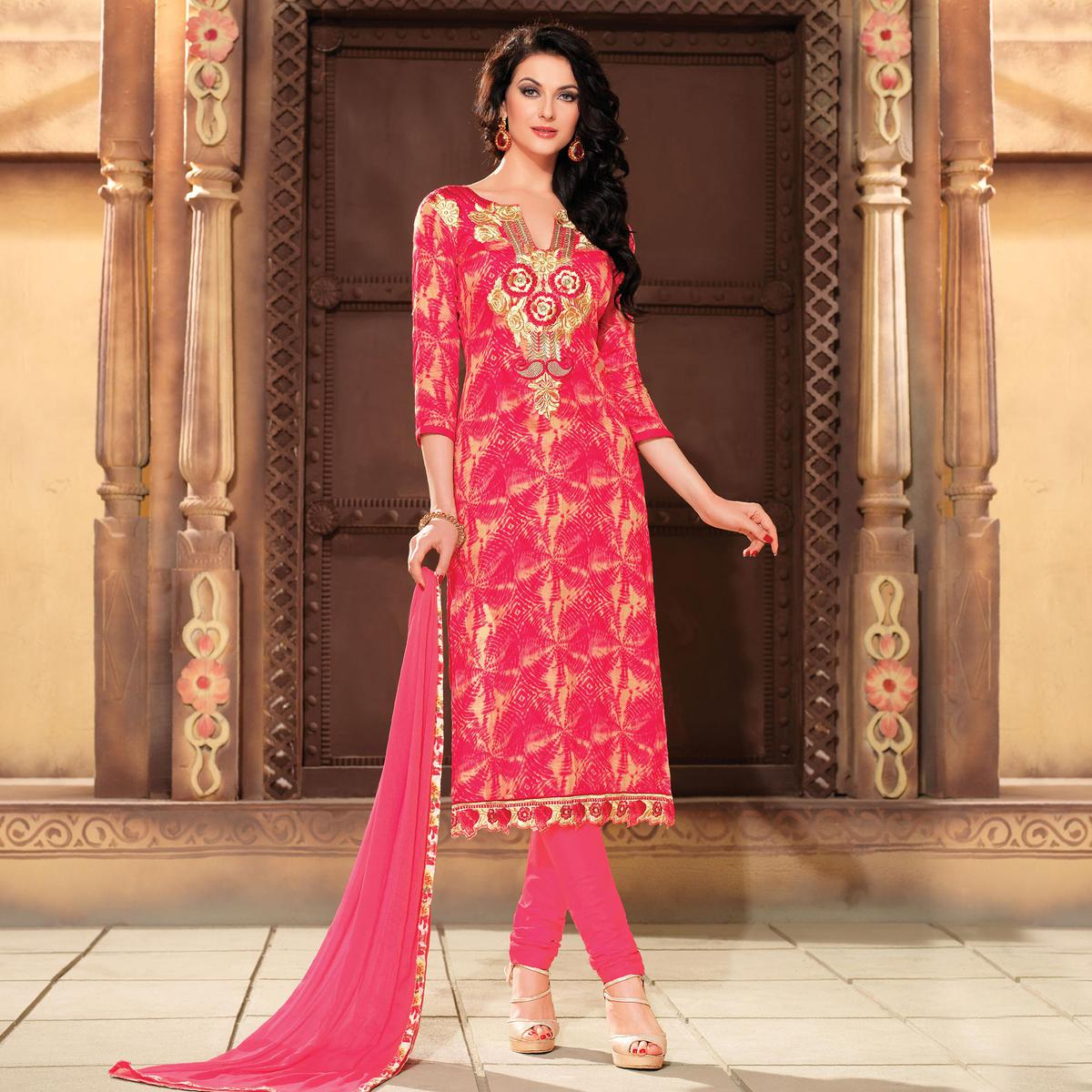 Beautiful Pink Embroidered Suit