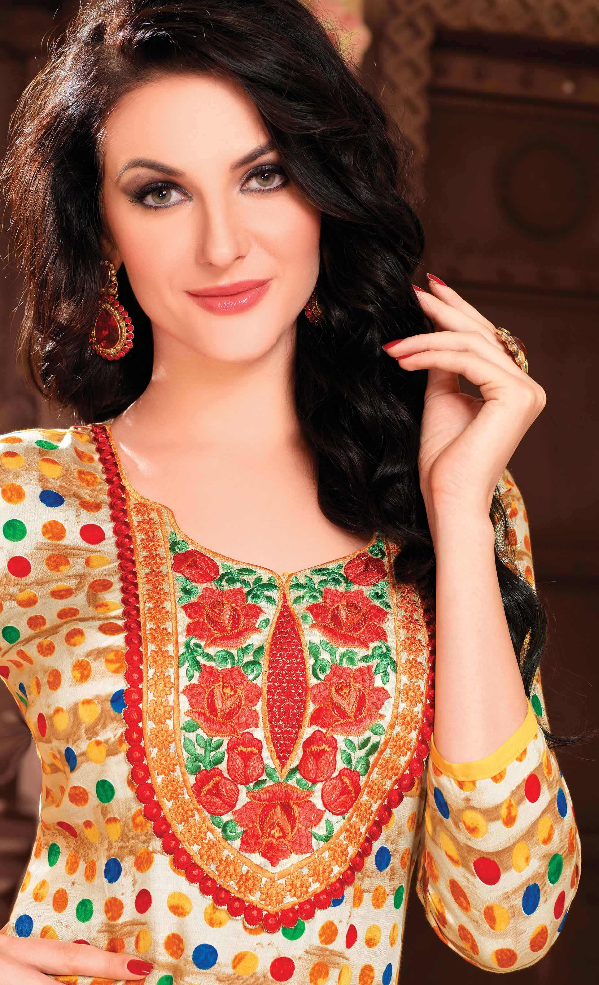 Multicolor Floral Embroidered Cotton Suit