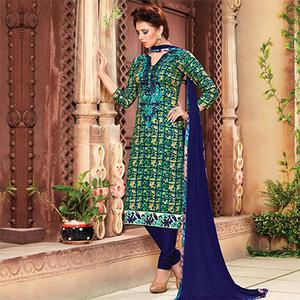 Classy Blue - Beige Embroidered Cotton Suit