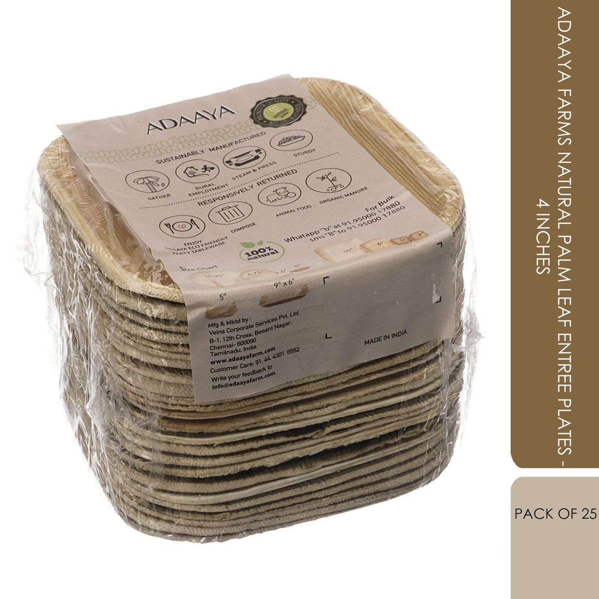 Adaaya Farms Natural Palm Leaf Entree Plates - 4 Inches (Pack of 25)