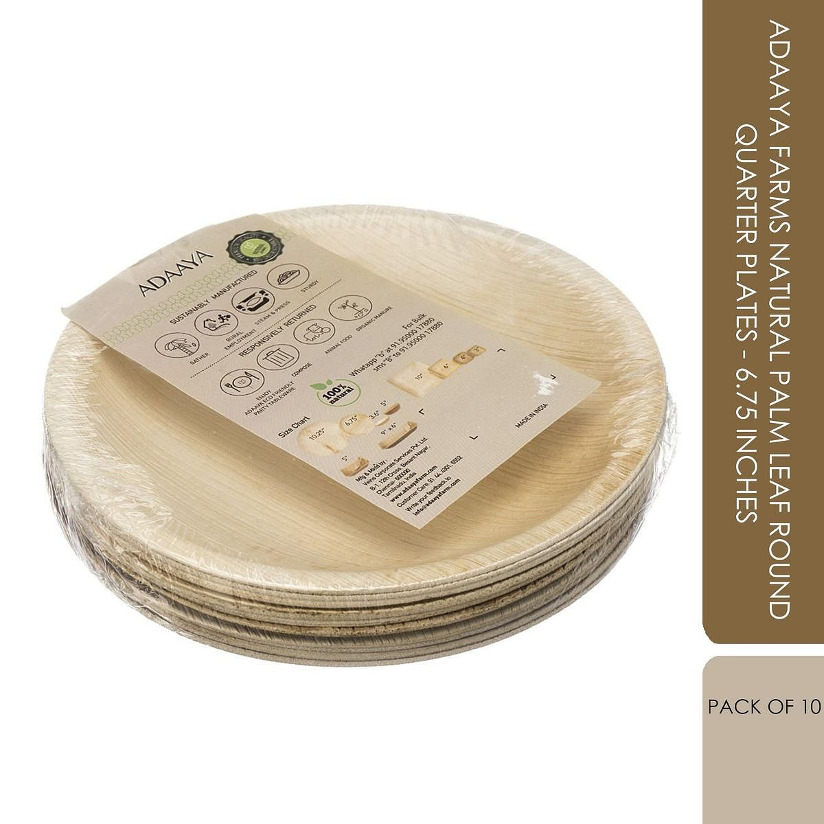 Adaaya Farms Natural Palm Leaf Round Quarter Plates - 6.75 Inches (Pack of 10)