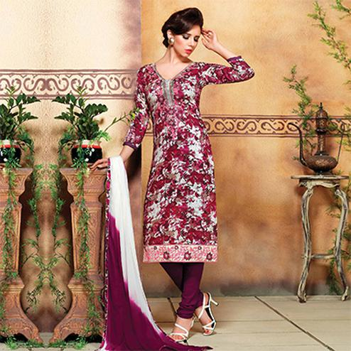 Wine Digital Printed Cotton Suit