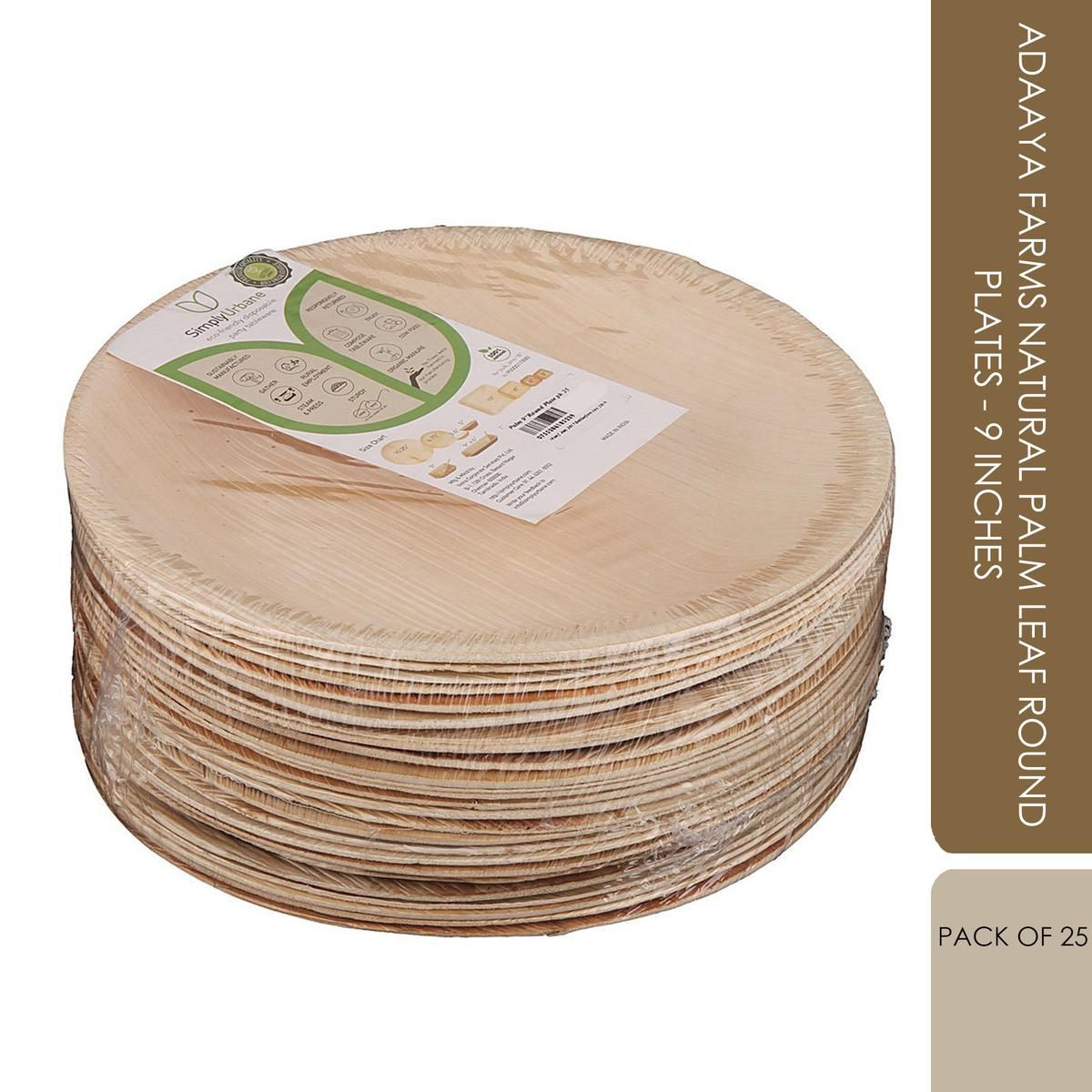 Adaaya Farms Natural Palm Leaf Round Plates - 9 Inches (Pack of 25)