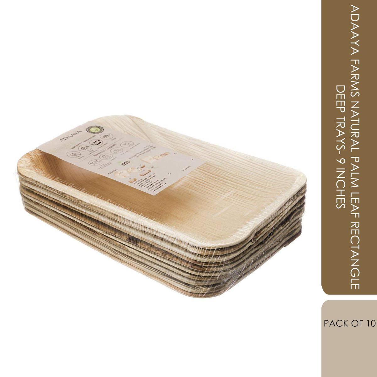 Adaaya Farms Natural Palm Leaf Rectangle Deep Trays - 9 Inches (Pack of 10)