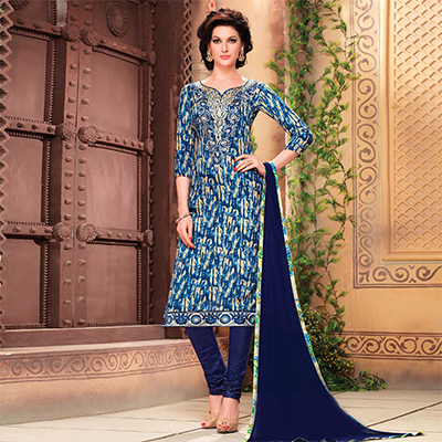 Blue Fancy Neck Digital Printed Suit