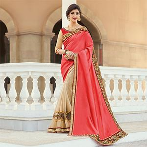 Beige - Peach Embroidered Work Half Saree