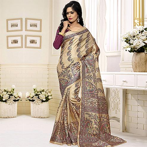 Beige - Wine Bhagalpuri Silk Saree