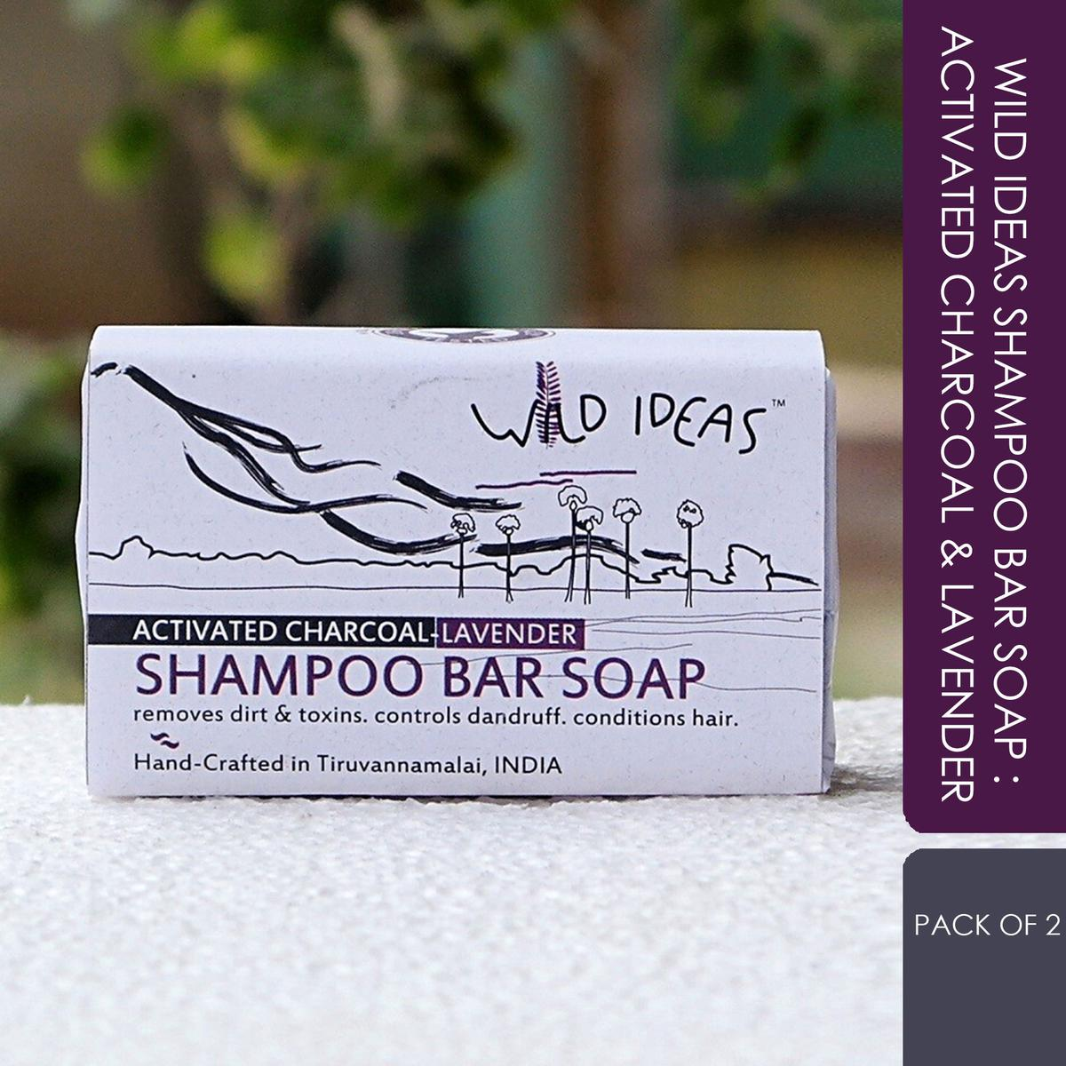 Wild Ideas Shampoo Bar Soap: Activated Charcoal & Lavender (Pack of 2)